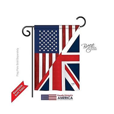 TwoGroupFlagCo US UK Friendship 2-Sided Vertical Flag; 18.5'' H x 13'' W