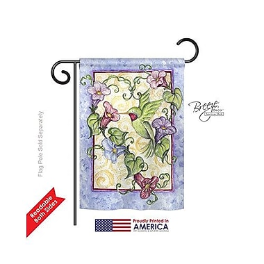 TwoGroupFlagCo Hummingbird w/ Trumpet Flowers 2-Sided Vertical Flag; 40'' H x 28'' W