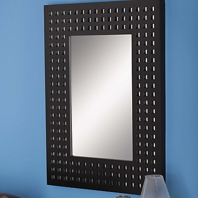 Cole & Grey Wood Wall Mirror; Black