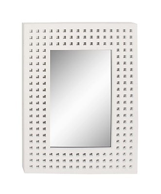 Cole & Grey Wood Wall Mirror; White