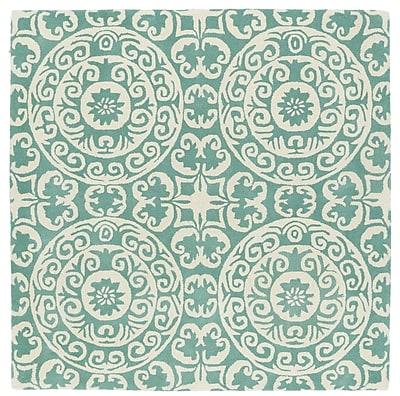 Charlton Home Corine Hand-Tufted Mint / Ivory Area Rug; Square 11'9''