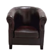 Cole & Grey Real Leather Captains Barrel Chair; Espresso