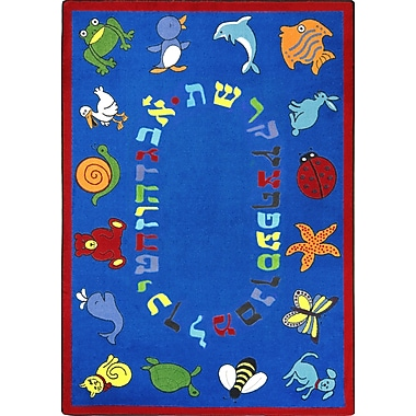 Joy Carpets – Tapis ABC Animals (alphabet hébreu), 5 pi x 7 pi 8 po, ovale