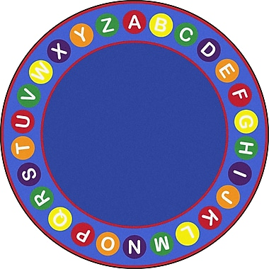 Joy Carpets – Tapis avez zones d'alphabet, 13 pi, rond, multicolore