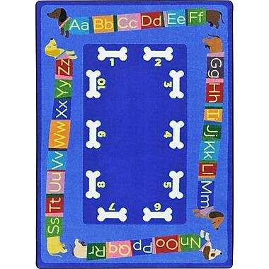 Joy Carpets – L'alphabet à longueur de teckel, 5 pi 4 po x 7 pi 8 po, couleurs variées