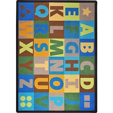 Joy Carpets – Tapis alphabet surdimensionné, 7 pi 8 po x 10 pi 9 po, tons de terre