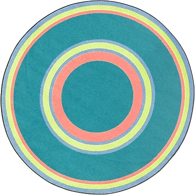 Joy Carpets – Tapis Ripples 13 pi, rond, bleu adolescent
