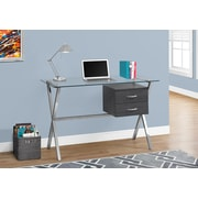 Monarch 7216 Computer Desk Tempered Glass, Grey
