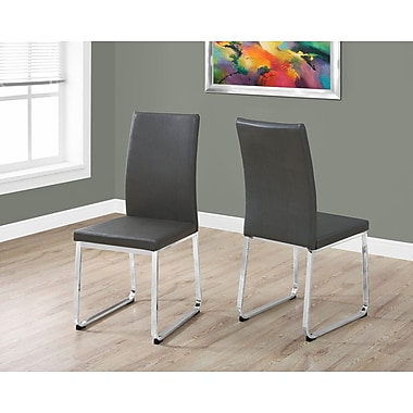 Monarch 1094 Dining Chair Leather Look Grey