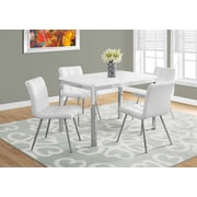 Monarch 1041 Dining Table With Metal Chrome White