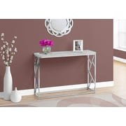 Monarch 3377 Console Table with Chrome Metal, Grey
