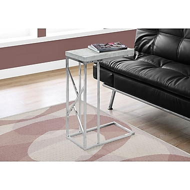 Monarch 3374 Accent Table with Chrome Metal, Grey