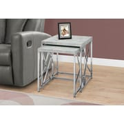 Monarch 3376 Nesting Table with Chrome Metal, Grey