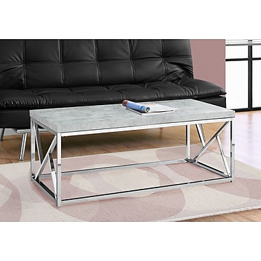 Monarch 3375 Coffee Table with Chrome Metal, Grey