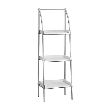 Monarch 7229 Bookcase with Silver Metal, White