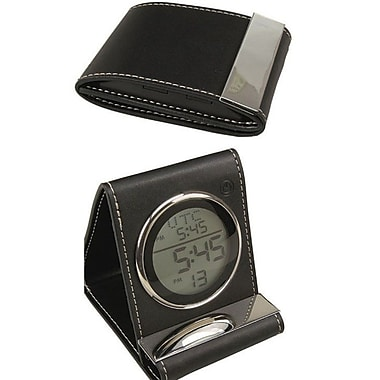 Elegance Leather Travel Alarm Clock