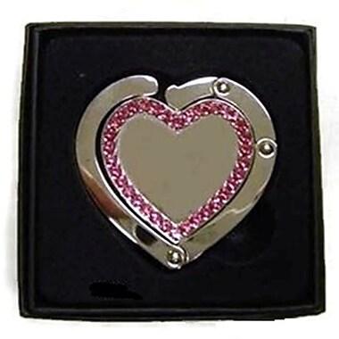 Elegance Heart Shaped Handbag Holder with Pink Crystal