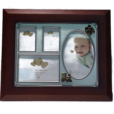 Elegance Baby Collage Photo Frame, Wood Pewter