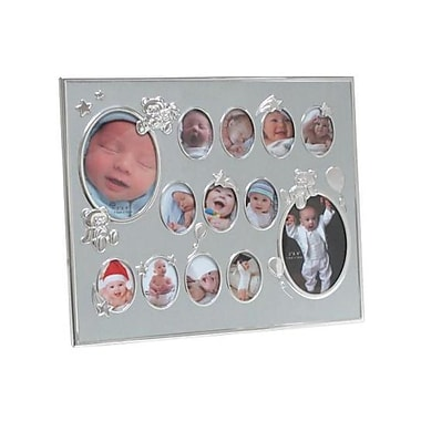 Elegance Baby Collage Photo Frame, Silver Aluminium