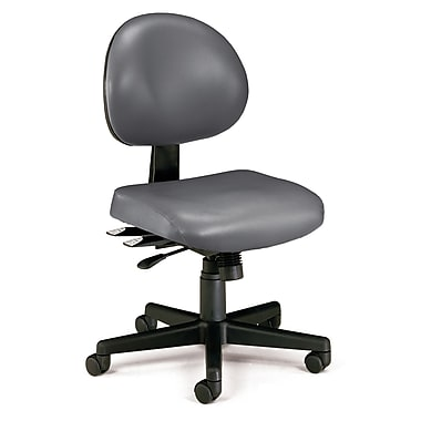 OFM 24 Hour Intensive Use Task Chair, Armless,Charcoal Gray, Anti-Microbial Anti-Bacterial Vinyl