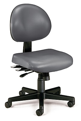 OFM 24 Hour Ergonomic Armless Task Chair, Anti-Microbial/Anti-Bacterial Vinyl, Mid Back, Charcoal, (241-VAM-604)