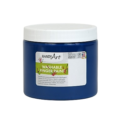 Handy Art Non-toxic 16 oz. Washable Finger Paint, Blue (RPC241030)