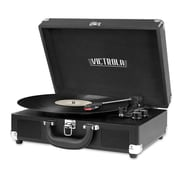 Portable Victrola Suitcase Record Player with Bluetooth and 3 Speed Turntable Black