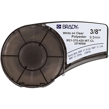 Brady Label Cartridge for BMP21 Series, ID PAL, LabPal Printers, Clear (M21-375-430-WT-CL)