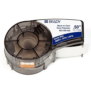 Brady Label Cartridge for BMP21 Series, ID PAL, LabPal Printers, Clear (M21-500-430)