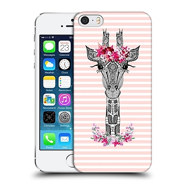 Official Monika Strigel Flower Giraffe And Stripes Coral Hard Back Case For Apple Iphone 5 / 5S / Se