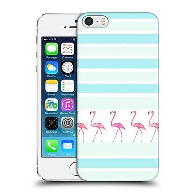 Official Monika Strigel Flamingos And Stripes Aqua Hard Back Case For Apple Iphone 5 / 5S / Se