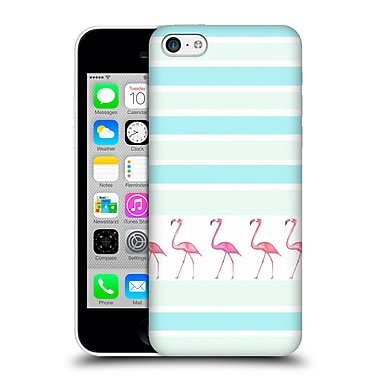 Official Monika Strigel Flamingos And Stripes Aqua Hard Back Case For Apple Iphone 5C
