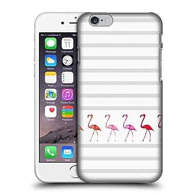 Official Monika Strigel Flamingos And Stripes Grey Hard Back Case For Apple Iphone 6 / 6S