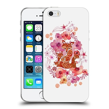 Official Monika Strigel Animals And Flowers Fox Family Soft Gel Case For Apple Iphone 5 / 5S / Se
