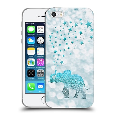 Official Monika Strigel Champagne Glitters 1 Happy Elephant Aqua Soft Gel Case For Apple Iphone 5 / 5S / Se