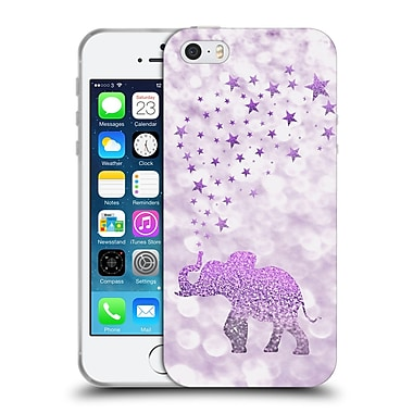 Official Monika Strigel Champagne Glitters 1 Happy Elephant Purple Soft Gel Case For Apple Iphone 5 / 5S / Se