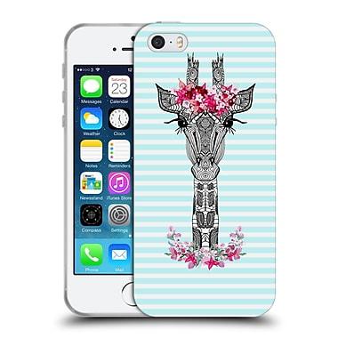 Official Monika Strigel Flower Giraffe And Stripes Aqua Soft Gel Case For Apple Iphone 5 / 5S / Se