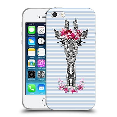 Official Monika Strigel Flower Giraffe And Stripes Blue Soft Gel Case For Apple Iphone 5 / 5S / Se