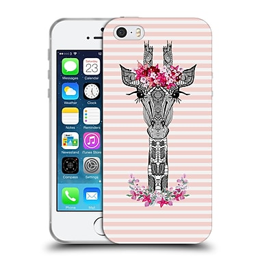 Official Monika Strigel Flower Giraffe And Stripes Coral Soft Gel Case For Apple Iphone 5 / 5S / Se