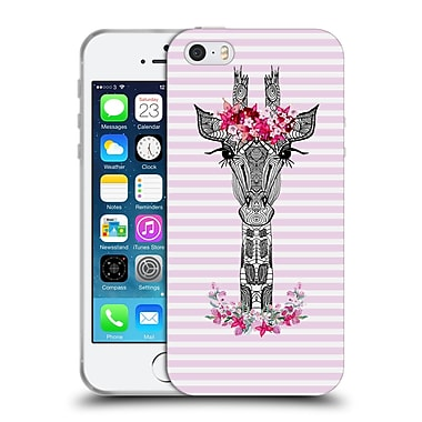 Official Monika Strigel Flower Giraffe And Stripes Pink Soft Gel Case For Apple Iphone 5 / 5S / Se