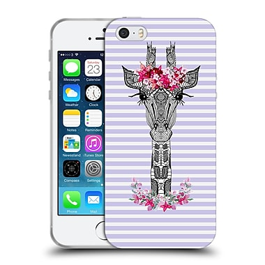 Official Monika Strigel Flower Giraffe And Stripes Purple Soft Gel Case For Apple Iphone 5 / 5S / Se