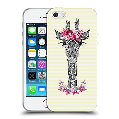 Official Monika Strigel Flower Giraffe And Stripes Yellow Soft Gel Case For Apple Iphone 5 / 5S / Se