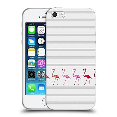 Official Monika Strigel Flamingos And Stripes Grey Soft Gel Case For Apple Iphone 5 / 5S / Se
