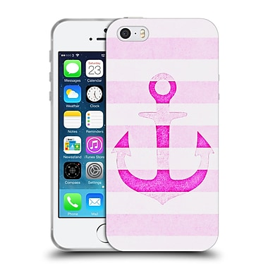 Official Monika Strigel Vintage Anchors Neon Pink Soft Gel Case For Apple Iphone 5 / 5S / Se