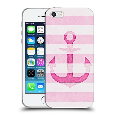 Official Monika Strigel Vintage Anchors Pink Soft Gel Case For Apple Iphone 5 / 5S / Se