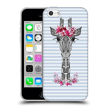 Official Monika Strigel Flower Giraffe And Stripes Blue Soft Gel Case For Apple Iphone 5C