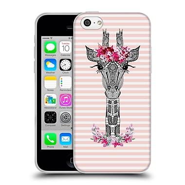 Official Monika Strigel Flower Giraffe And Stripes Coral Soft Gel Case For Apple Iphone 5C