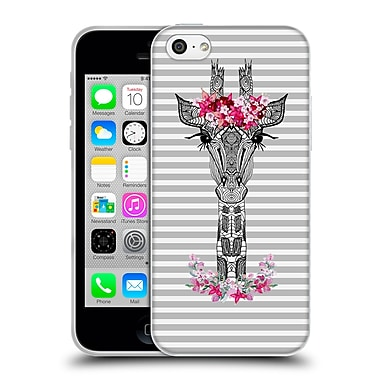 Official Monika Strigel Flower Giraffe And Stripes Grey Soft Gel Case For Apple Iphone 5C