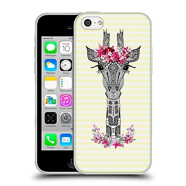 Official Monika Strigel Flower Giraffe And Stripes Yellow Soft Gel Case For Apple Iphone 5C