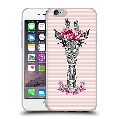 Official Monika Strigel Flower Giraffe And Stripes Coral Soft Gel Case For Apple Iphone 6 / 6S